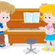 Stock Vector: Children play piano