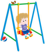 Boy on a swing — Stock Vector