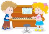 Children play a piano — Stock Vector
