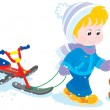 Child with snow scooter and pup — Stock Vector #37618997