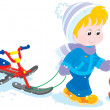 Stock Vector: Child with snow scooter and pup