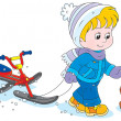 Stock Vector: Child with snow scooter and puppy