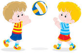 Children playing volleyball — Stock Vector