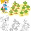 Vector de stock : Girl in vegetable garden