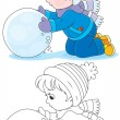 Stock Vector: Child with snowball