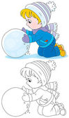 Child with a snowball — Stock Vector