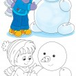 Stock Vector: Child makes snowman