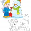 Stock Vector: Child and snowman