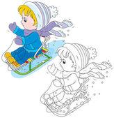 Child sleighing — Stock Vector