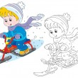 Child on snow scooter — Stock Vector #37849285