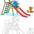 Child on slide — Stock Vector #37849291