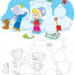 Children building snow fort — Stock Vector #37849339