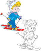 Child skiing — Stock Vector