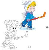 Little hockey player — Stock Vector