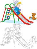 Child on a slide — Stock Vector