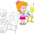 Little artist — Stock Vector #37891381