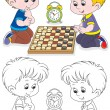 Stock Vector: Children play checkers