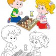 Children play chess — Stock Vector #37891395