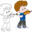 Stock Vector: Little violinist