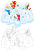 Children in a snow fort — Stock Vector