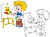 Little artist draws — Stock Vector