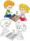 Children play chess — Stock Vector