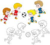 Children playing football — Stock Vector
