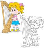 Harpist — Stock Vector