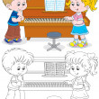 Children play piano — Stock Vector #37938535