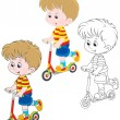 Stock Vector: Boy scooterist