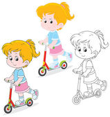 Girl scooterist — Stock Vector