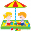 Stock Vector: Children play in sandbox