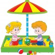 Children play in a sandbox — Stock Vector