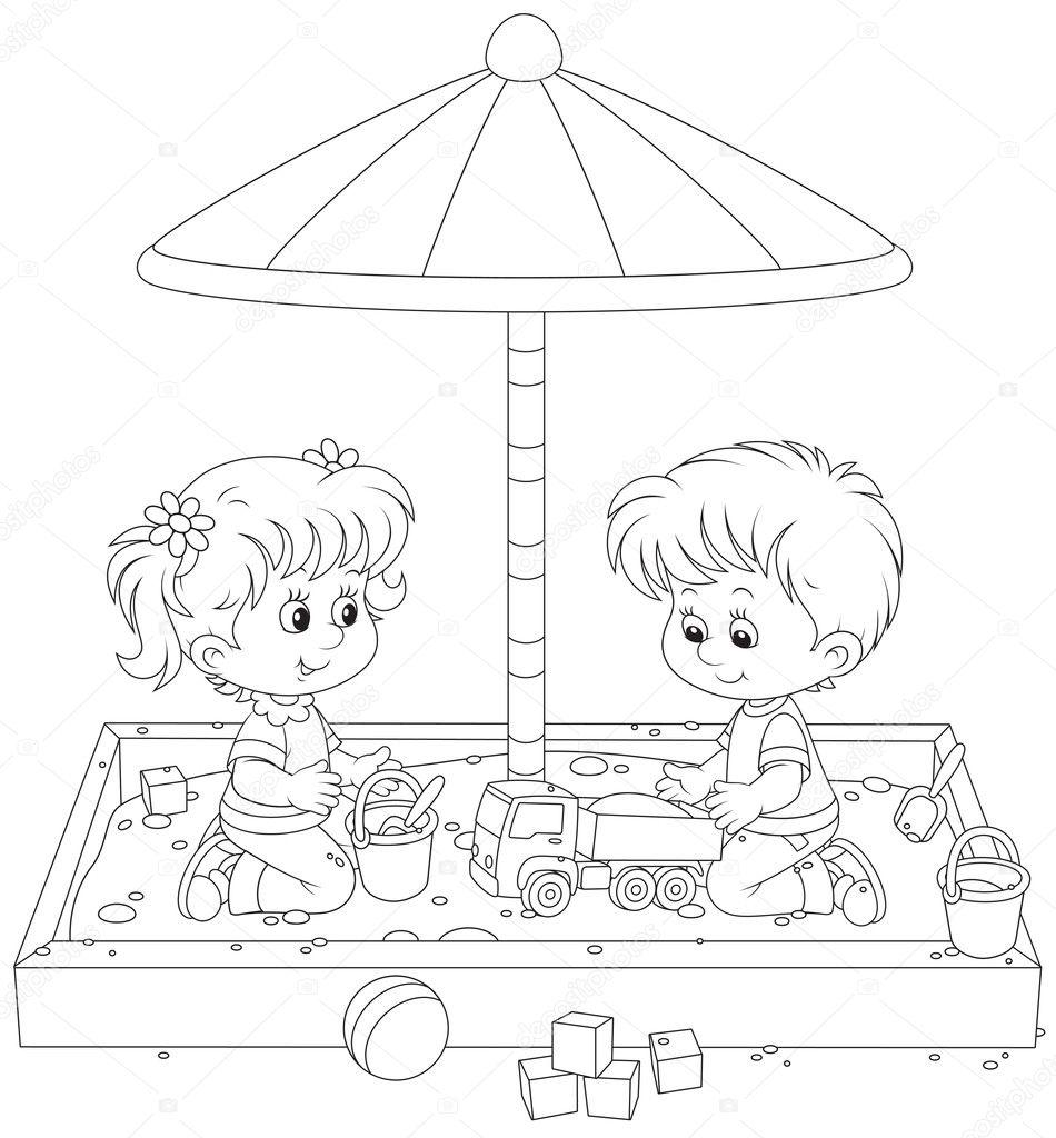 Раскраска дети играют - 7