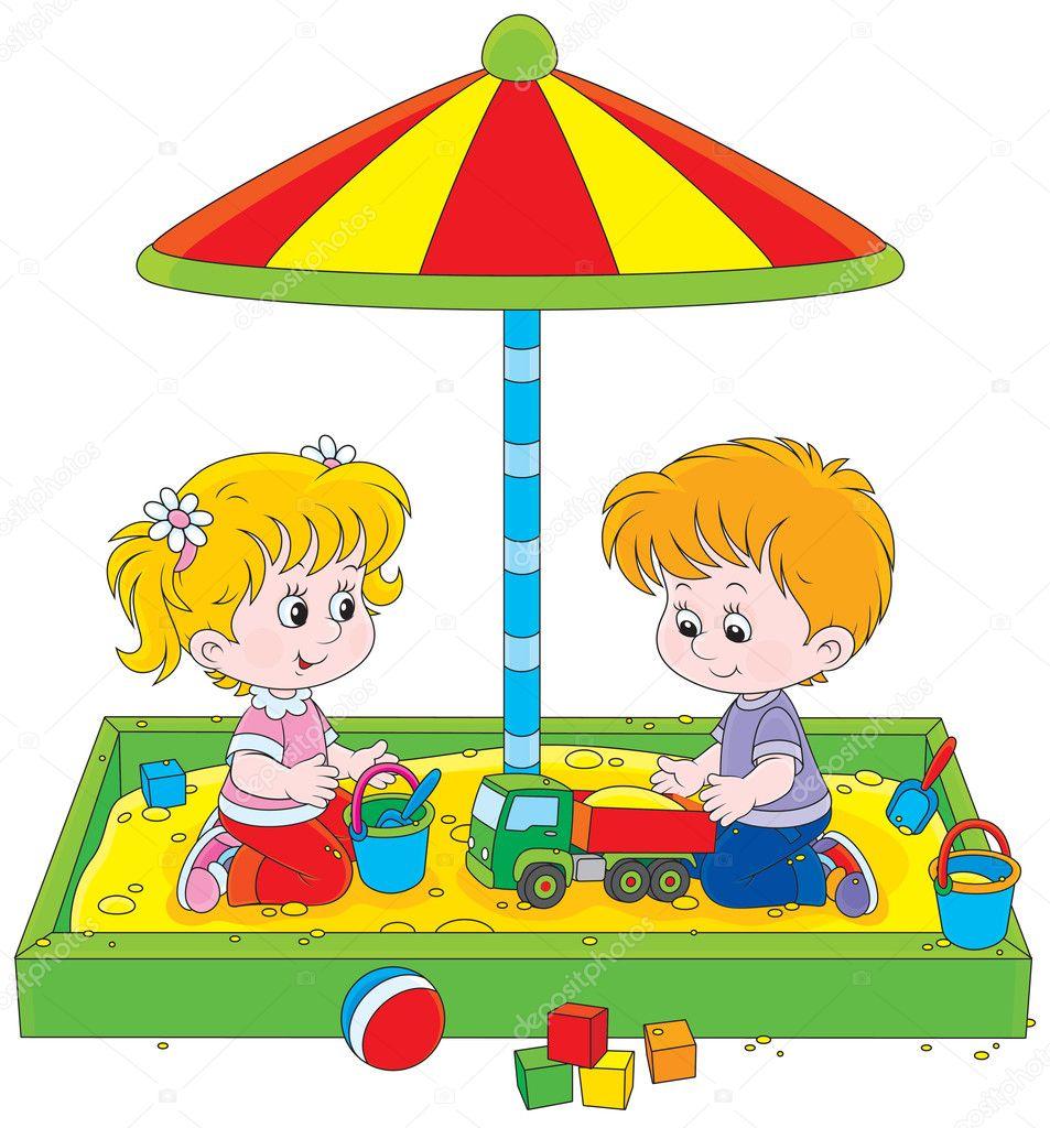 Рисунки как дети играют в песочнице