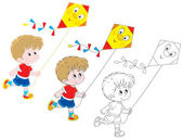 Boy with a kite — Stock Vector