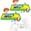 Stock Vector: Boy plays in sandbox