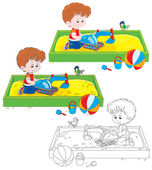 Boy plays in a sandbox — Stock Vector