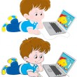 Boy with a laptop — Vector de stock