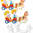 Children riding pony — Stock Vector #39328131