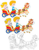 Children riding a pony — Stock Vector