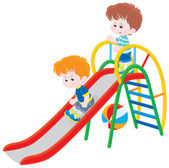 Children on a slide — Stock Vector
