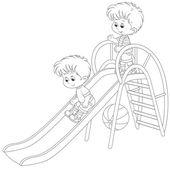 Little boys on a slide — Stock Vector