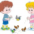 Boy and girl feeding birds — Stock Vector #39564913