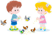 Children feed small birds — Stock Vector