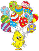 Easter Chick with balloons — Stock Vector