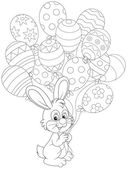 Easter Bunny with holiday balloons — Stock Vector