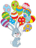 Easter Bunny with balloons — Stock Vector