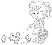 Girl feeding chicks — Stock Vector