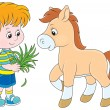 Boy feeds pony — Stock Vector #39739941